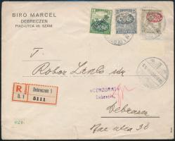 Debrecen 1919 Cenzúrás helyi ajánlott levél, rajta I. lemez Zita 40f (min. 600.000) Signed: Bodor