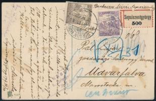 1917 Ajánlott cenzúrás képeslap Arató 15f + 20f bérmentesítéssel SEPSI SZENT GYÖRGY - Brassó ZENSURIERT K.u.K. Briefzensur BRASSO bélyegzéssel és kézírásos cenzúrával