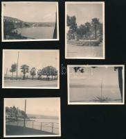 1937 Abbázia, 5 db feliratozott, vintage fotó, 6x9 cm