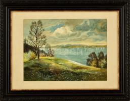 Bodolai jelzéssel: Folyó part. Akvarell, papír, üvegezett keretben, 28×39 cm