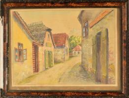 Heigl jelzéssel: Aranykakas utca (Tabán.) Akvarell (enyhén foltos), papír, üvegezett keretben, 20×28 cm