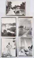 cca 1920-1940 5 db Balatont ábrázoló üvegnegatív, mellettük későbbi, modern előhívásaikkal és egy plusz fotóval (5+1 db), üvegnegatívok: 10,5x8,5 cm, fotók: 11x9 cm