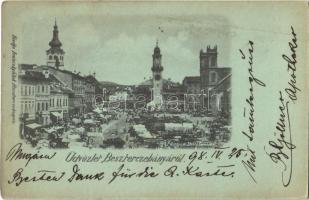 1898 Besztercebánya, Banská Bystrica; piac. Ivánszky Elek kiadása / market