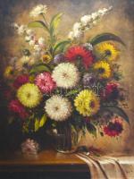 Púza Sándor (?-?): Virágos-gyümölcsös csendélet, olaj, vászon, jelzett, fa keretben, 120×88 cm