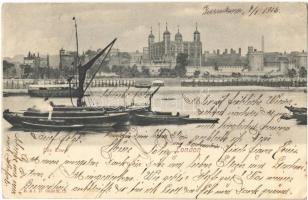 1906 London, The Tower, boats (EB)