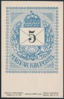 1924/3 50 éves a levélboríték rajzú bélyeg, kék-fehér képeslap (9.000)