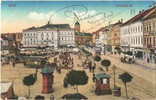 1915 Arad, Szabadság tér, villamos, piac, Limbeck János és fia üzlete / square, tram, market, shops  (EK)