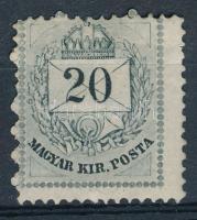 1874 20kr látványos elfogazással (160.000) (részleges gumihiba / partly missing gum)