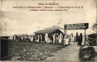 1926 Budapest XII. Gillar és Klimm-né sírkő és síremlékmű raktár és kőfaragó üzlet. Németvölgyi út 60. és 70. a Farkasréti temetővel szemben