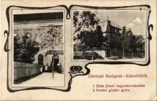 Budapest XI. Kelenföld, John Fowler gőzeke gyára, Éliás József vegyeskereskedése. Art Nouveau (EK)