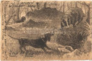 1903 Das! Das!! / Hunting with dachshunds, dogs, hand-drawn graphic