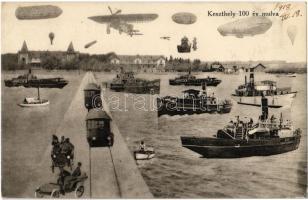 1918 Keszthely 100 év múlva, a jövőben montázs. Sujánszky József kiadása / in the future montage (Rb)