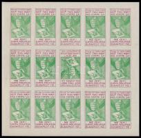 1925 Gamma filatélia: Ne így! zöld-piros vágott kisív, luxus!