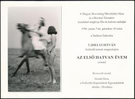 1996 Ujhelyi István (1936-2003) budapesti fotóművész hagyatékából kiállítási meghívó, benne felragasztva egy vintage fotóművészeti alkotása, 13x8,3 cm