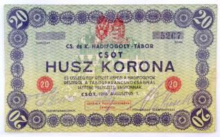 Csót / Hadifogolytábor 1916. augusztus 1. 20K számozott, gumibélyegzős aláírással mindkét oldalon T:III folt, kis szakadások  Hungary / Csót / POW Camp 01.08.1916. 20 Korona with serial number and rubber stamp signatures on both sides C:F spot, small tears Adamo HHC-1.6.1