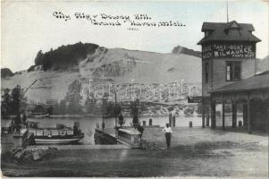 Grand Haven, City Slip and Dewey Hill, boat station, port (EK)