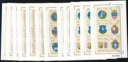 1997 Budapest és a megyék címerei I. + II. 3-3 db blokkpár (12.600)