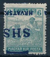 1918 Arató 6f eltolódott fordított felülnyomással, Bodor vizsgálójellel (rövid fogak / short perfs.)