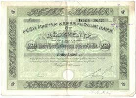 Budapest 1928. Pesti Magyar Kereskedelmi Bank öt részvénye egyben, összesen 250P-ről, névre szóló, szelvényekkel, szárazpecséttel, bélyegzésekkel T:III