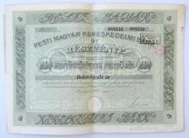 Budapest 1928. Pesti Magyar Kereskedelmi Bank öt részvénye egyben, összesen 250P-ről, névre szóló, szelvényekkel, szárazpecséttel, bélyegzésekkel T:II- szakadás