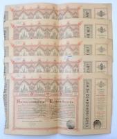 Budapest 1886. Egyházi Műemlék Alap sorsjegykölcsön 5Ft-ról a lipótvárosi bazilika felépítésére és egyházi műemlékek fenntartására, bélyegzéssel (5x) T:II-