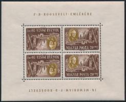 1947 Roosevelt 20f fordított állású postai kisív / Mi 987 tete beche mini sheet