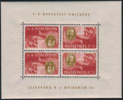 1947 Roosevelt 8f fordított állású postai kisív / Mi 985 tete beche mini sheet