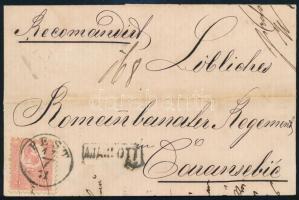 1871 1867 10kr (bontásnál elvágva) + Kőnyomat 5kr vegyes bérmentesítés távolsági ajánlott levélen (750.000) / 1867 10kr (cut) + Mi 3 on registered domestic cover PEST - KARÁNSEBES
