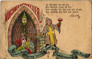 1884 (Vorläufer!) Münchner Rathskeller. Leichten Muth bring herein Sorgen lassdraussen sein. Prosit! / German beer advertisement from München. Art Nouveau, litho (EB)