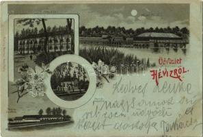 1898 Hévíz, Hetes Ház, fürdő, Mexikó szálloda, kápolna. Moricz Marton kiadása, Art Nouveau, floral, litho (EK)