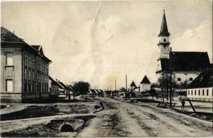 1929 Gajar, Gairing, Gajary; Fő utca, templom. A. Wiesner 144-III. / main street, church (szakadás / tear)