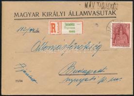 1942 Ajánlott levél TARACKÖZ magyar-rutén kétnyelvű + MÁV bélyegzéssel / Registered cover with bilingual cancellation
