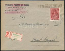 1943 Ajánlott levél KÖRÖSMEZŐ magyar-rutén kétnyelvű + MÁV bélyegzéssel / Registered cover with bilingual cancellation