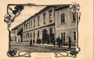 Eger, Széchenyi utca, iskola. Art Nouveau, floral