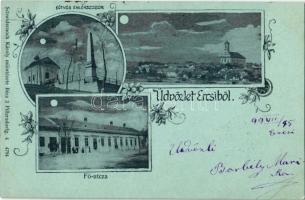 1899 Ercsi, Eötvös emlékszobor, Fő utca. Schwidernoch Károly Art Nouveau, floral