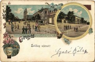~1899 Gyöngyös, Boldog újévet!, Kohn Antal üzlete. Kovács Fülöp kiadása. Art Nouveau, floral, litho (kopott sarkak / worn corners)