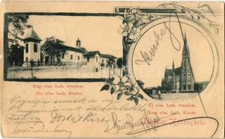 1899 Budapest X. Kőbánya, Régi és új római katolikus templom. Art Nouveau, floral (EK)