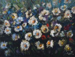 Márton Béla (1913-2007): Virágok. Olaj, vászon, kartonon, sérült, jelzett, keretben, 60×80 cm