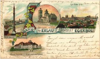 1898 Eger, Erlau; Török mecset, érseki lyceum, székesegyház. Beznák Gyula kiadása, Art Nouveau, litho