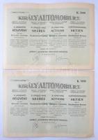 Budapest 1923. Király Automobil Részvénytársaság huszonöt részvénye egyben, egyenként 200K-ról, összesen 5000K (2x) sorszámkövetők, szelvényekkel, szárazpecséttel T:I- szakadás / Hungary / Budapest 1923. Király Automobile Company Limited twenty-five shares in, each with the value of 200 Korona, in sum total of 5000 Korona (2x) with sequential serials, coupons and embossed stamp C:AU tear