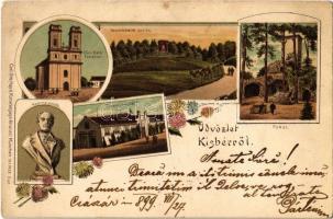 1899 Kisbér, Wenckheim-emlék, Római katolikus templom, Kozma-emlék, Pokol-domb, Törzsmén istálló. Carl Otto Hayd Kunstverlags-Anstalt München No. 1428. floral Art Nouveau litho (Rb)