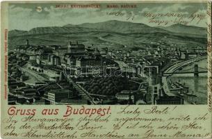 1900 Budapest I. Tabán este. Ottmar Zieher litho / Donau Kettenbrücke, Marg. Brücke (EK)