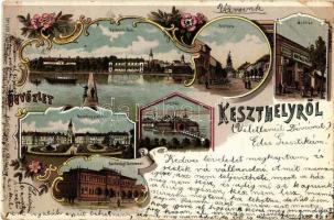 1899 Keszthely, Balatoni park, Fő utca, fürdőház, Festetics palota, Gazdasági tanintézet, Kovács Mór üzlete és saját kiadása. Art Nouveau, floral, litho (Rb)