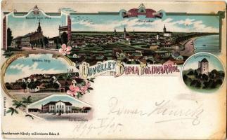 1899 Dunaföldvár, Kossuth Lajos utca, Kálvária hegy, Csonkatorony, Szentháromság tér. Schwidernoch Károly Art Nouveau, floral, litho (vágott / cut)