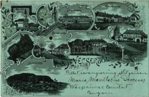 1899 Devecser, Római katolikus templom, Járásbíróság, Kossuth és Baross utca, piac, Esterházy kastély, Somlyói hegy és vár; Rosenberg Zsigmond floral, Art Nouveau, litho