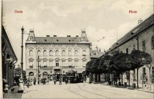 Budapest III. Óbuda, Fő tér, Takarékpénztár, villamos, Réb Károly üzlete