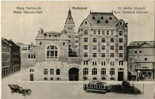 Budapest VIII. Mária Terézia tér (ma Horváth Mihály tér), Új Telefon palota, villamos, automobil, Dr. Bugel fogorvos