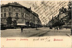1904 Budapest VIII. József körút, Valéria kávéház, villamosok, utcaseprő (EK)