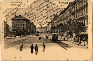 1904 Budapest VIII. József körút, Baross kávéház, villamos, bor és sörcsarnok. Divald Károly 641.