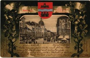 1902 Budapest IX. Üllői út, Valéria kávéház, Iparművészeti múzeum, villamosok. Szecessziós címeres keret, Art Nouveau, litho